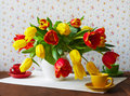 Still life with tulips red and yellow Stock Photo
