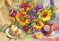 Still life in Ukrainian style with fruits and sunflowers. Gouache painting Royalty Free Stock Photo