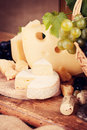 Still life with a variety of cheeses Stock Image