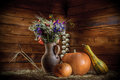 Still life with vase and watermelons image of a on the background Royalty Free Stock Photography
