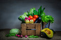 Still life vegetables vegetable variety kind of organic fresh vegetable display in wooden crate Stock Photography
