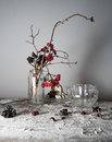 Still life. viburnum branches with berries and snow in a transparent vase, glass teapot on wooden table.