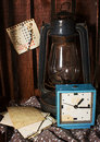 Still life in vintage style old rusty kerosene stove and an alarm clock Royalty Free Stock Photography