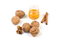 Still life with walnuts and honey Royalty Free Stock Photos