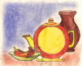 Still-life watercolors drawing Royalty Free Stock Photos
