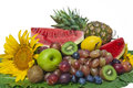 Still life on white background the group of fruits and vegetables closeup view Royalty Free Stock Images