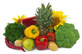 Still life on white background the group of fruits and vegetables isolated Stock Photo