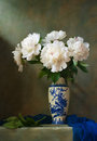 Still life with white peonies in a chinese vase Royalty Free Stock Image