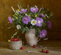 Still life with wildflowers and sweet cherry looking like a painting Stock Photos