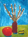 Still life with willow branches - painted by child