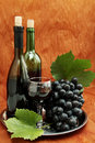 Still life with wine bottle glass and grapes Stock Photos