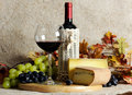 Still life with wine cheese and grape Royalty Free Stock Image