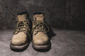 Still life working hard boots Royalty Free Stock Photo