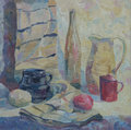Still life written in oil. Bottle, pitcher, mug and vegetables on the table with drape Royalty Free Stock Photo