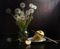 Stillife with dandelions Royalty Free Stock Photo
