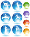 Stilts Stick Figure Crystal Icon Set Stock Image