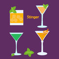 Stinger alcohol cocktail in different glasses vector illustration for bar menu restaurant decoration party poster Royalty Free Stock Photography