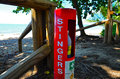 Stinger first aid station relief on the beach Royalty Free Stock Photo