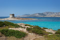 Stintino in sardinia italy la pelosa beach and aragonese tower Royalty Free Stock Photos