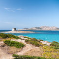 Stintino sardinia la pelosa beach in italian island of Royalty Free Stock Images
