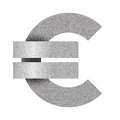 Stippled euro sign icon. Euro currency symbol. Vector illustration