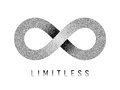 Stippled Limitless sign. Mobius strip symbol. Vector illustration