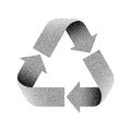Stippled Recycle sign. Vector illustration.