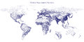 Stippled vector map of global population density Royalty Free Stock Photo