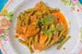 Stir curry in thailand ingredient lentils pork Stock Image