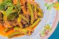 Stir curry in thailand ingredient lentils pork Stock Photo