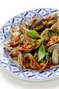 Stir fried clams with thai sweet basil Royalty Free Stock Photo