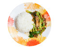 Stir fried kale with crispy pork and rice steamed Royalty Free Stock Photos
