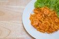Stir fried macaroni with prawn