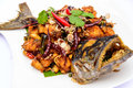 Stir fried mackerel in spicy thai herb Stock Images