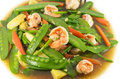 Stir fried mix vegetables with shrimp in plate Stock Images