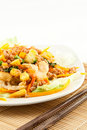 Stir Fried Noodle with Chicken Royalty Free Stock Photography