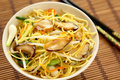 Stir fried Noodle with mushroom Royalty Free Stock Photography