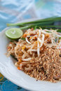 Stir fried noodle pad thai on white dish Royalty Free Stock Photography