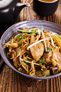 Stir fried noodles in a bowl Royalty Free Stock Photos