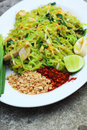 Stir fried noodles green lines put the squid and pork Royalty Free Stock Photo