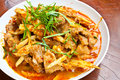 Stir fried pork belly and red curry paste stock photos Stock Photo