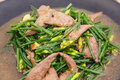 Stir fried pork liver with vegetable closeup of Royalty Free Stock Image