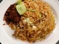 Stir fried rice noodle on plate korat's Royalty Free Stock Photo