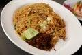 Stir fried rice noodle on plate korat's Royalty Free Stock Photography