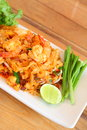 Stir fried rice noodle with prawns Royalty Free Stock Photography