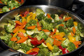 Stir fried seasonal vegetables in a pan on the heat or stove Stock Photography