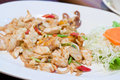 Stir fried squid with salted egg yolk Stock Photography