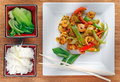 Stir fried Thai prawns Stock Photos
