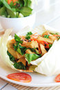 Stir fried tofu vegetarian food and mixed vegetables serves in cabbage container Royalty Free Stock Photo