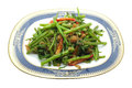 Stir Fried Water Spinach, Morning Glory with dry shrimp, seafood, thai food Royalty Free Stock Photo